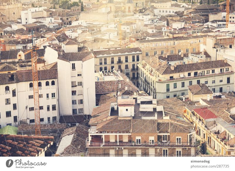 roofs of the south Granada Spain Town Downtown Old town Populated House (Residential Structure) Building Facade Window Prefab construction Roof Review Crane