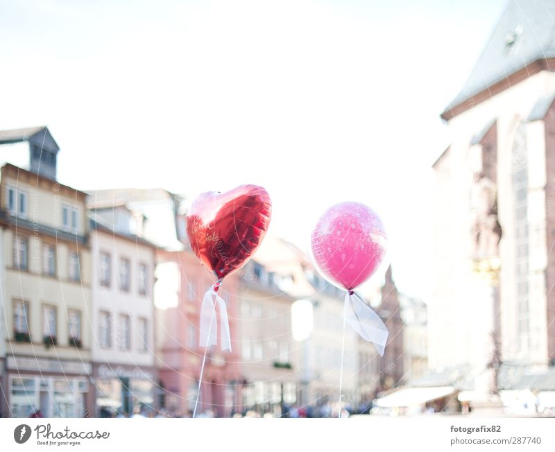 red or pink. just married Lifestyle Event Feasts & Celebrations Wedding Flying Balloon Red Old town Heidelberg Bow Heart Colour photo Exterior shot Deserted