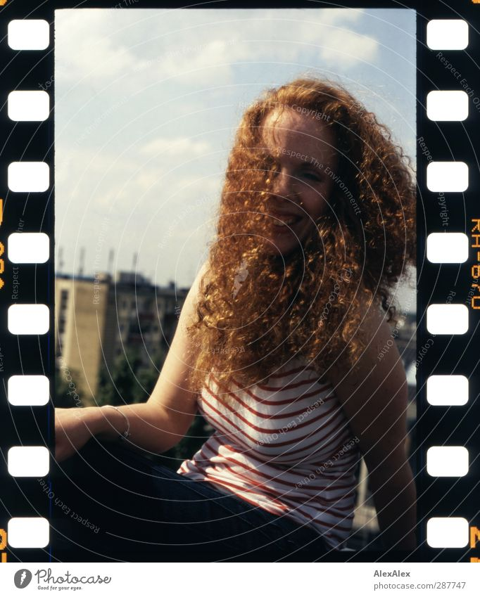 Red Lily White Bell Hair and hairstyles Arm Freckles Red-haired Curly Lush Town Roof Smiling Laughter Eroticism Beautiful Joy Happiness Exotic Analog Stripe
