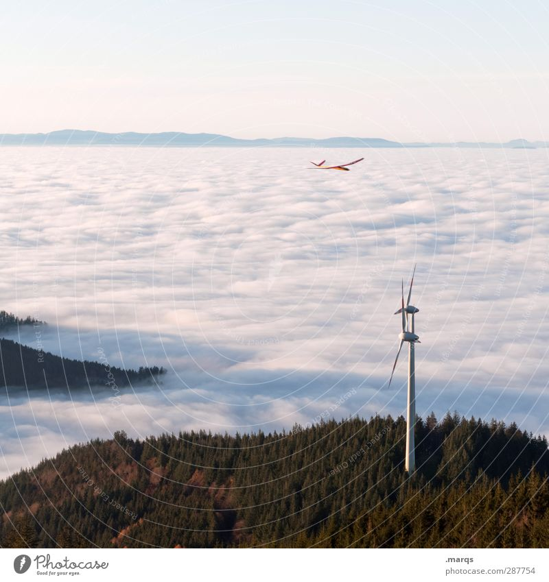 wind power Economy Energy industry Environment Nature Climate Climate change Beautiful weather Fog Forest Hill Mountain Aviation Airplane Sign Flying