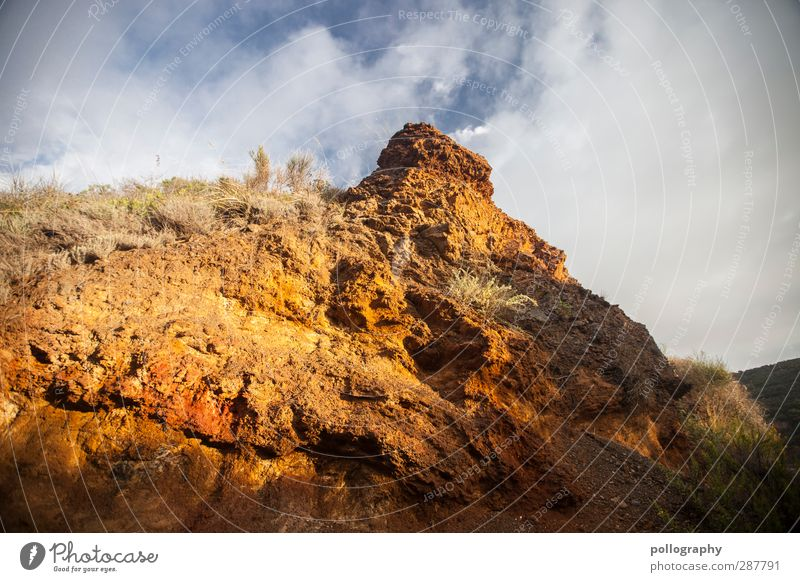 Sky Nature Summer Plant Red Clouds Landscape Grass Sand Stone Rock Orange Earth Beautiful weather Bushes Hill