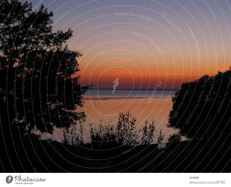 Lake Garda Sunset Calm Vacation & Travel Summer Red Dusk Orange