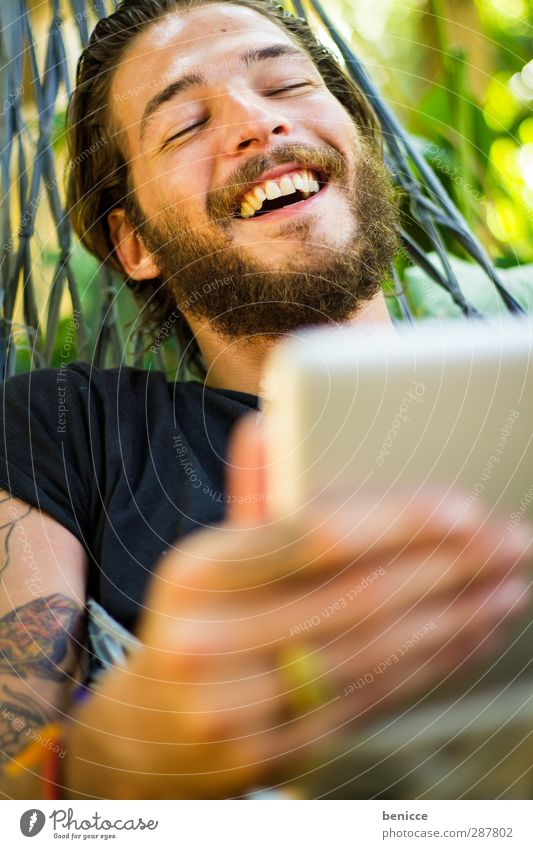 Human being Nature Man Vacation & Travel Joy Relaxation Young man Laughter Garden Lie Computer Smiling Fingers Touch Internet Tattoo
