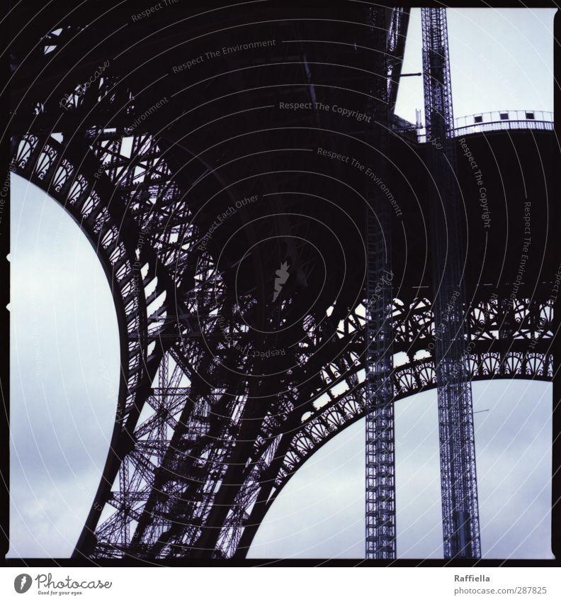 Paris II France Capital city Manmade structures Building Tourist Attraction Landmark Monument Eiffel Tower Blue Medium format Iron Sky Sky blue Prop Arch