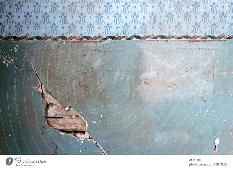 Wall el Lifestyle Design Wall (barrier) Wall (building) Old Dirty Retro Change Redecorate Interior design Broken Crack & Rip & Tear Stripe Blue