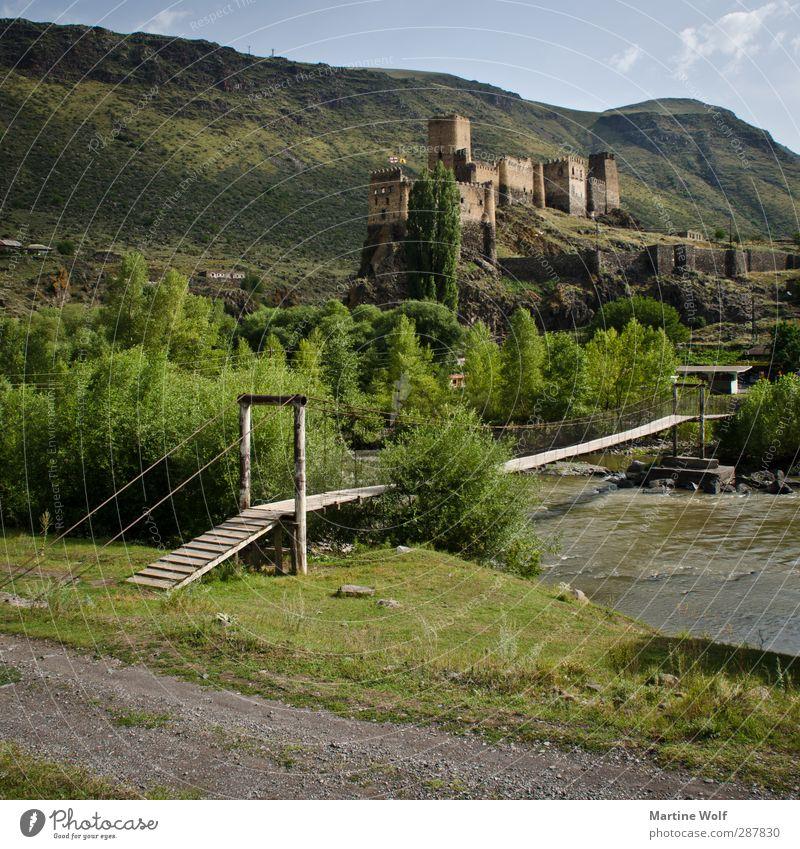 Khertvisi Nature Landscape River spa Georgia Europe Asia Village Deserted Castle Ruin Bridge Suspension bridge Vacation & Travel Lesser Caucasus Colour photo
