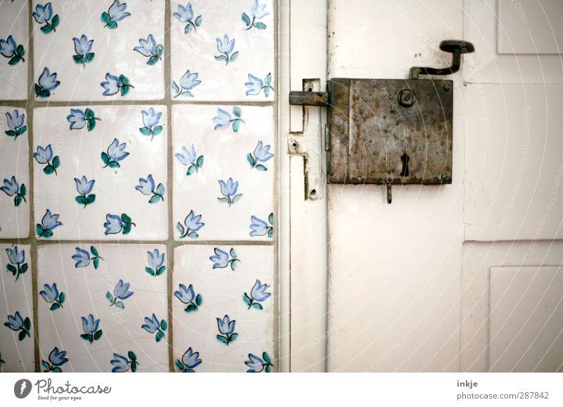 Blue Old White Wall (building) Senior citizen Wall (barrier) Door Room Flat (apartment) Closed Idyll Kitchen Historic Tile Door handle Wooden door