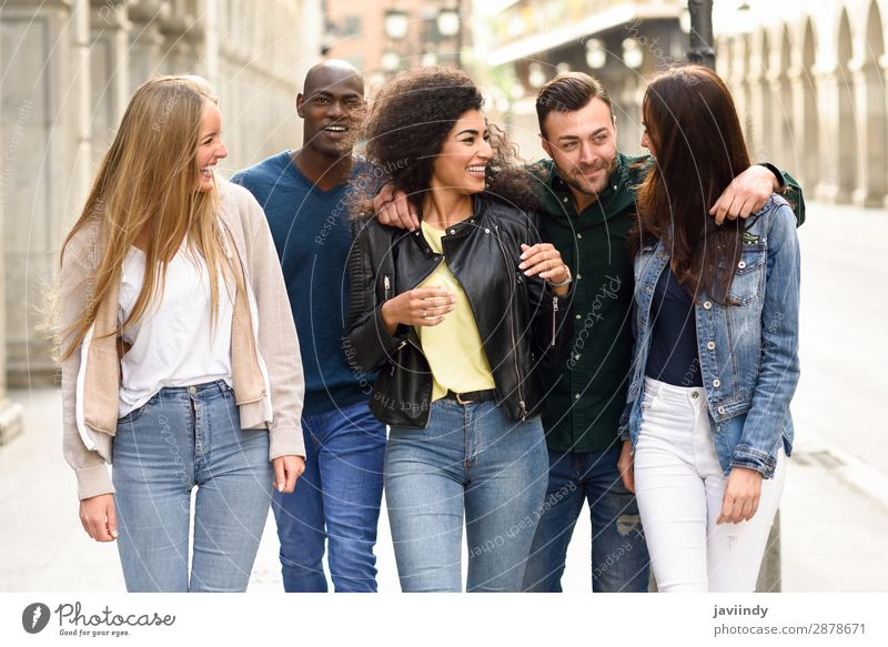 Group of friends having fun together outdoors Woman Human being Youth (Young adults) Man Young woman Summer Beautiful Young man Joy 18 - 30 years Street