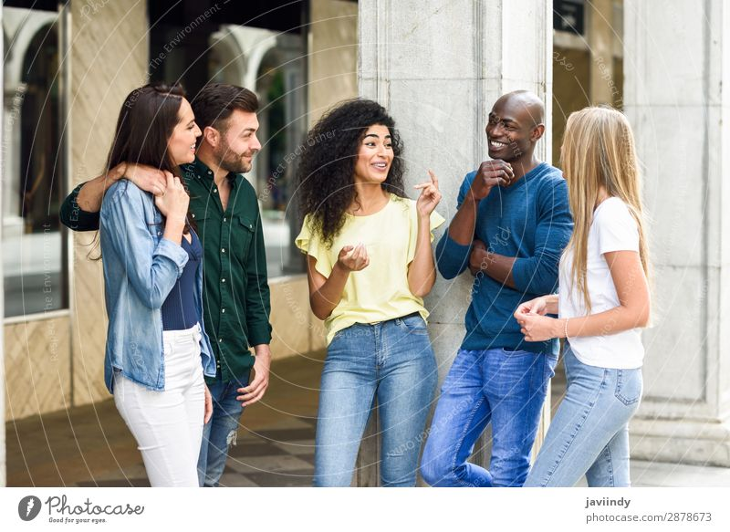Multi-ethnic group of friends having fun together outdoors Woman Human being Youth (Young adults) Man Young woman Summer Beautiful Young man Joy 18 - 30 years
