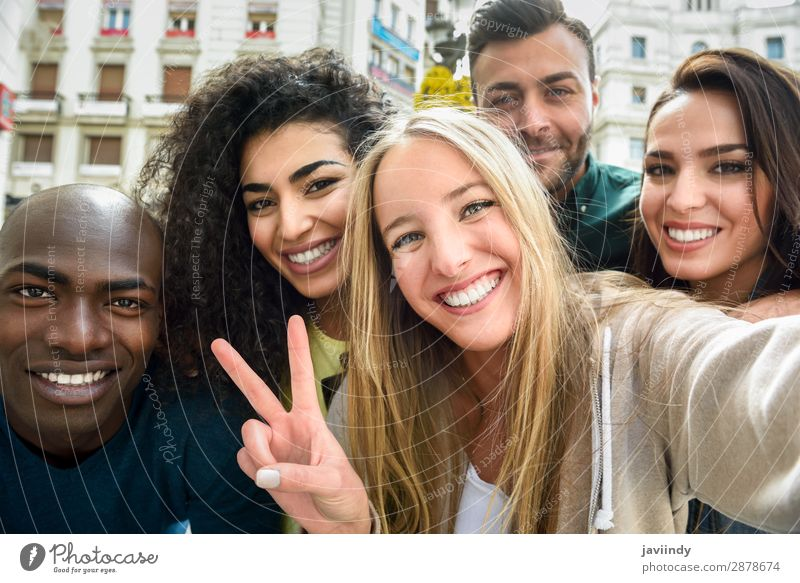 Multiracial group of young people taking selfie Woman Human being Vacation & Travel Youth (Young adults) Man Young woman Beautiful Young man Joy 18 - 30 years