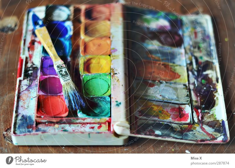 used Art Old Dirty Multicoloured Colour Creativity Paintbrush Painting (action, artwork) Paintbox Dye Play of colours Second-hand Colour photo Interior shot