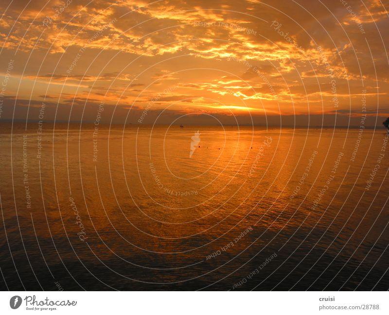 sunset Sunset Clouds Lake Horizon Lake Eder Romance Water Evening