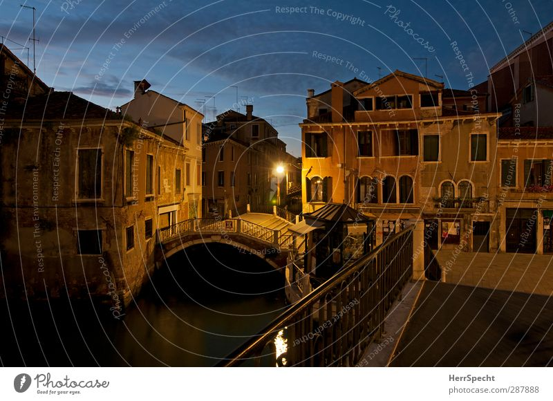 Blue hour in Dorsoduro Sky Clouds Night sky Beautiful weather Venice Italy Port City House (Residential Structure) Bridge Manmade structures Building Stairs