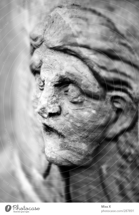 Rockface Human being Face 1 Art Sculpture Stone Looking Old Broken Gray Senior citizen Decline Transience Eyes Statue Black & white photo Subdued colour