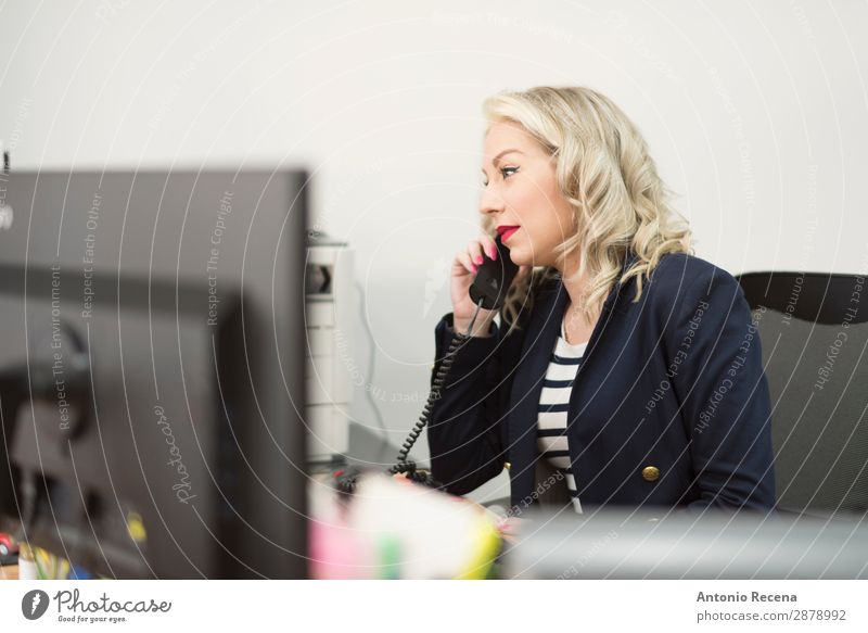 woman working at office with telephone Desk Work and employment Profession Workplace Office Telecommunications Business Human being Woman Adults 1 30 - 45 years