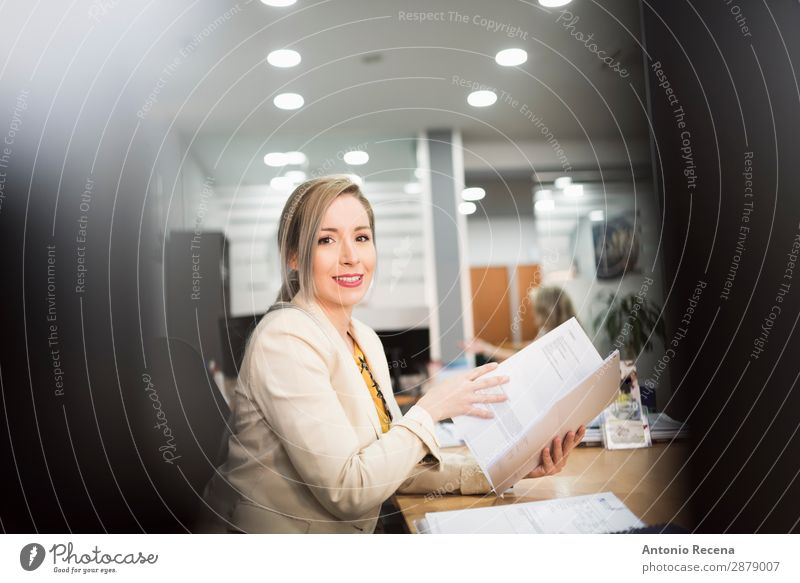 Office worker with files Beautiful Work and employment Profession Workplace Business Company Computer Human being Woman Adults 1 18 - 30 years
