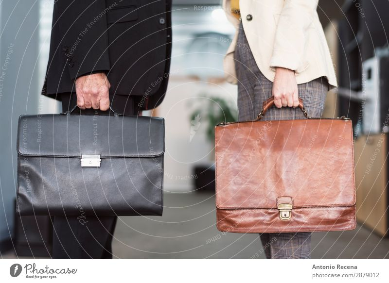 Mature man and young woman with briefcases Work and employment Profession Workplace Office Business Company Human being Woman Adults Man Suit Suitcase Modern