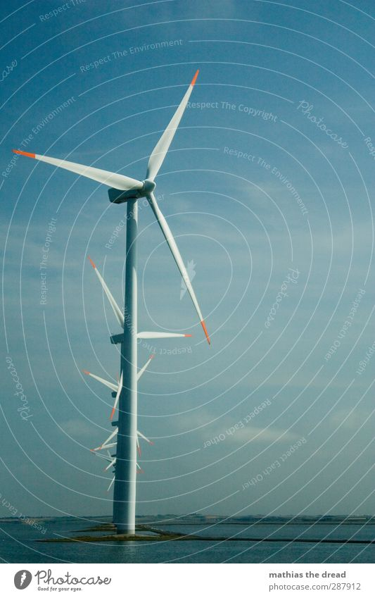 wind power Energy industry Renewable energy Wind energy plant Industry Environment Nature Air Water Sky Clouds Horizon Summer Beautiful weather Coast Rotate