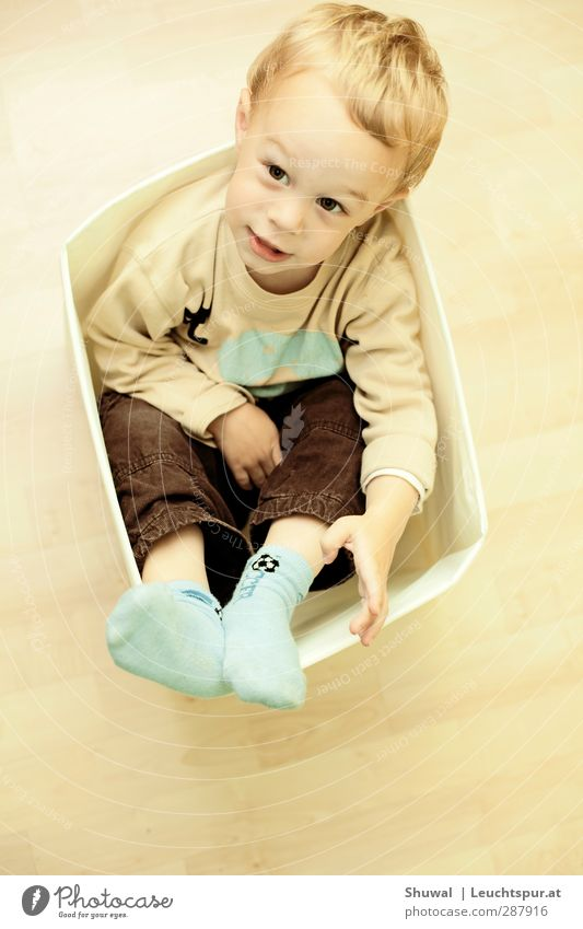 Take me to another place Playing Child Toddler Boy (child) Infancy 1 Human being 1 - 3 years Blonde Sit Joy Curiosity Parenting pedagogy Box Brash Colour photo