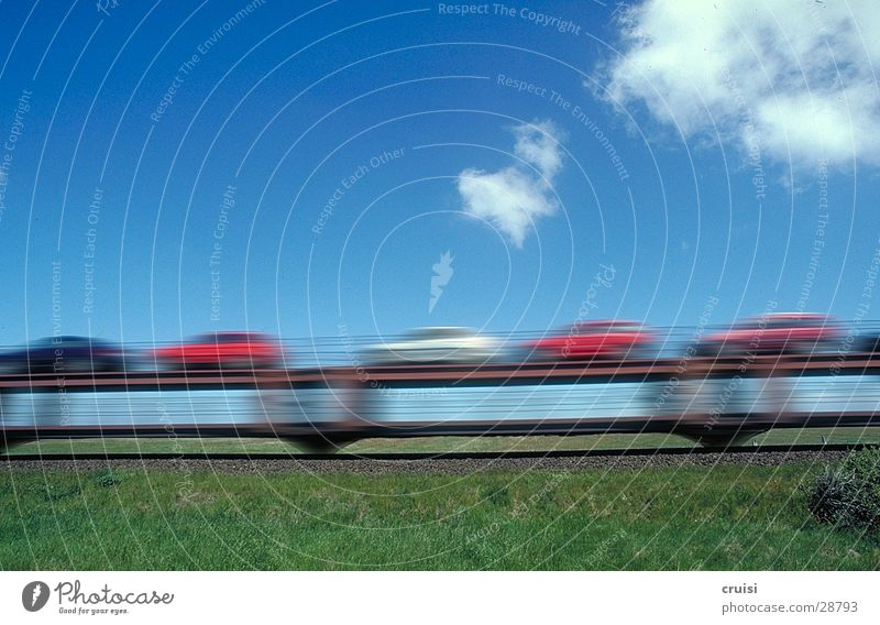 piggyback cars Sylt Railroad Auto train Green Transport Speed Blur Clouds Sky Blue Car
