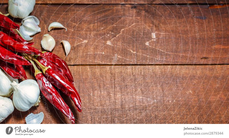 Hot spices on a wooden background Nature Healthy Eating Plant Colour Red Food Wood Natural Copy Space Nutrition Fresh Table Kitchen Herbs and spices Vegetable