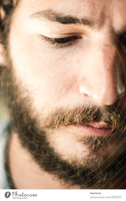 hairy Portrait photograph Man Facial hair Beard Close-up European Caucasian Moustache Face White Downward Young man Attractive Beautiful Alternative Rocker