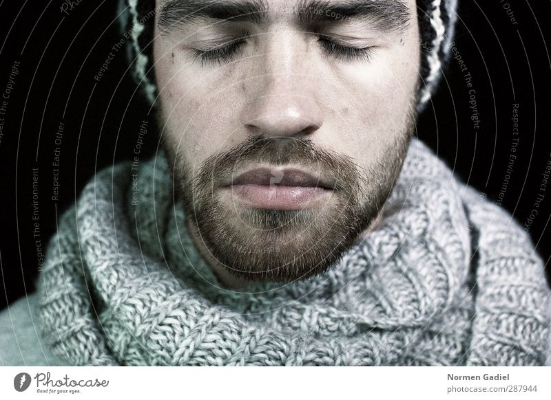 A thought Masculine Young man Youth (Young adults) Head Facial hair 1 Human being 18 - 30 years Adults Scarf Cap Brunette Beard Think Dream Sadness Cold Gray