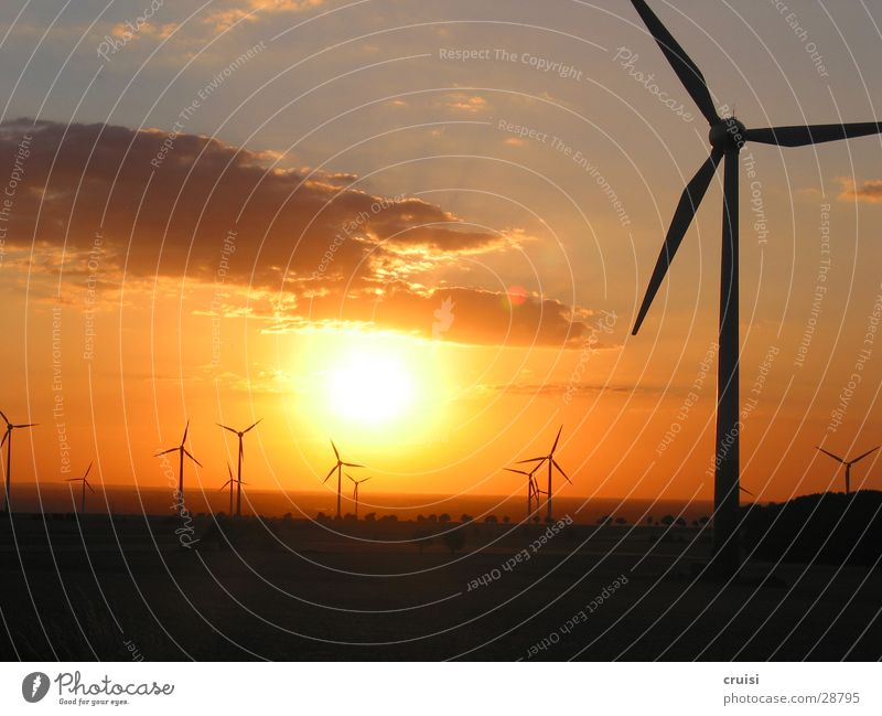 Sun Clouds Dark Orange Gold Romance Wind energy plant