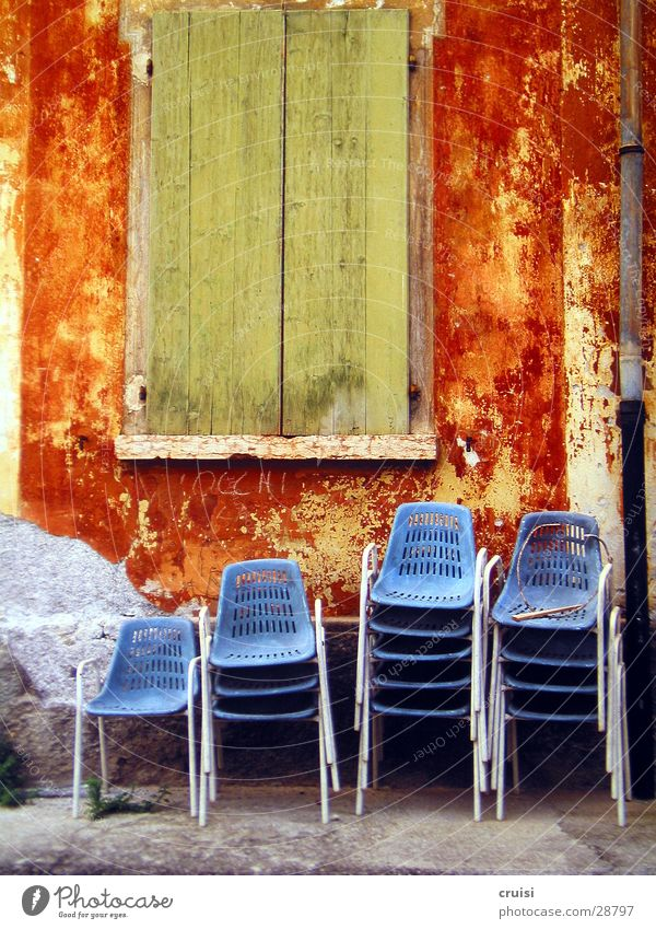 Green Blue Summer Vacation & Travel Window Moody Orange Architecture Chair Summer vacation Shutter