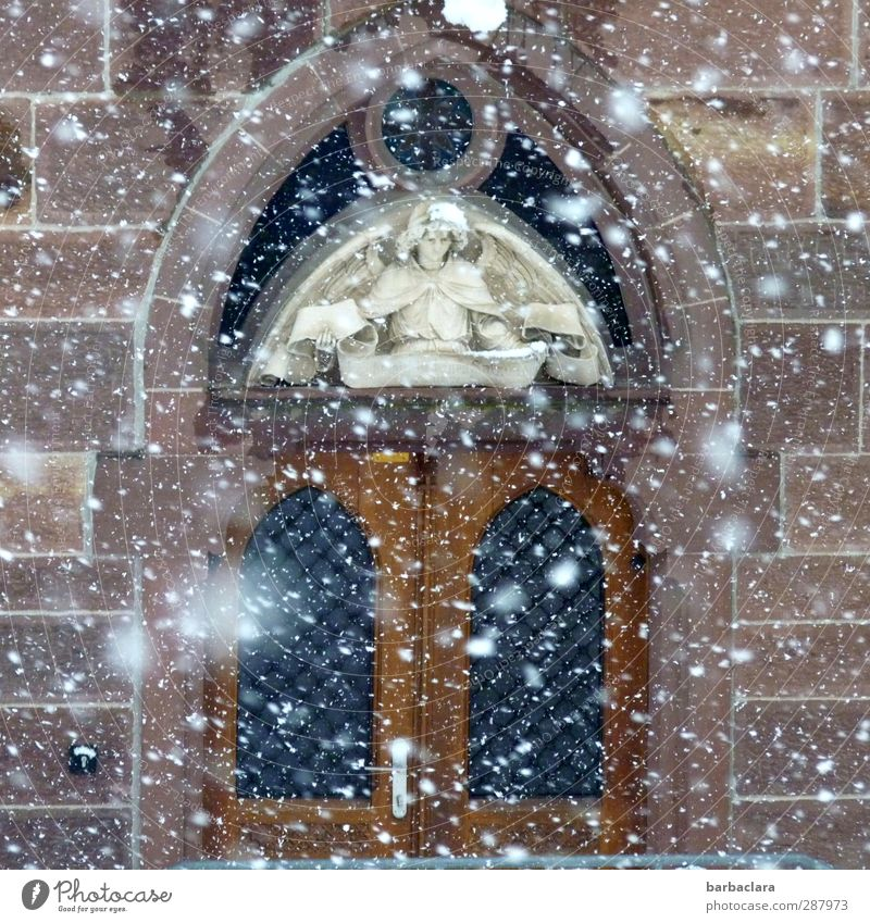 Christmas & Advent Calm Winter Wall (building) Snow Wall (barrier) Architecture Religion and faith Stone Moody Snowfall Facade Door Living or residing Esthetic