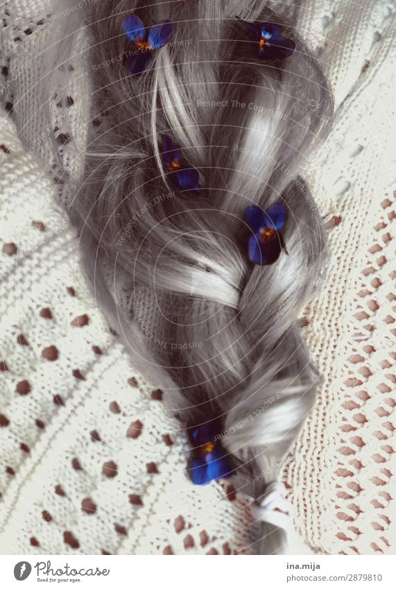 transience Beautiful Personal hygiene Hair and hairstyles Hair accessories Gray-haired White-haired Long-haired Braids Haircut Strand of hair Hair colour