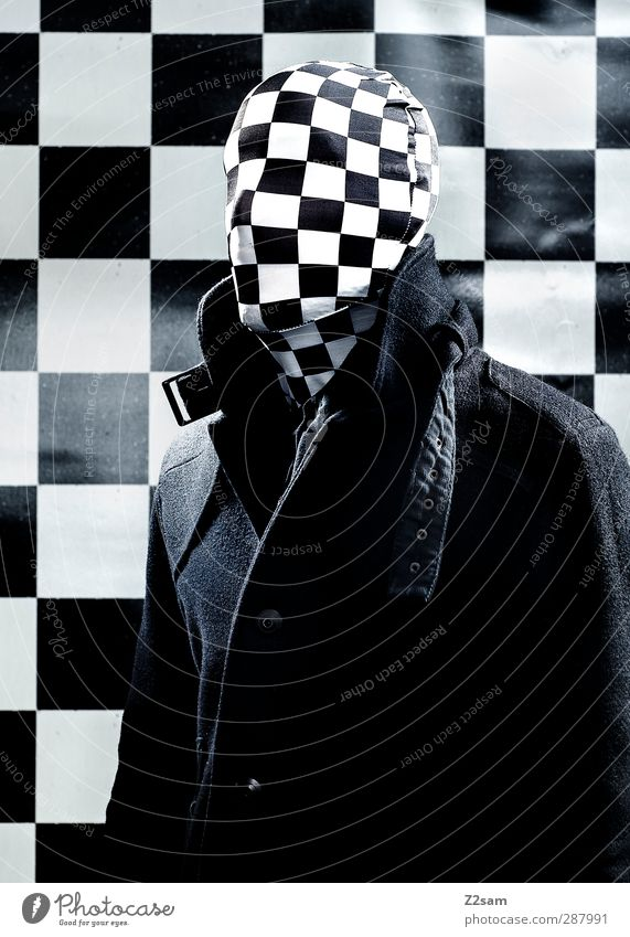 Youth (Young adults) Adults Dark Cold Young man 18 - 30 years Power Masculine Threat Mask Creepy Jacket Whimsical Evil Surrealism Checkered
