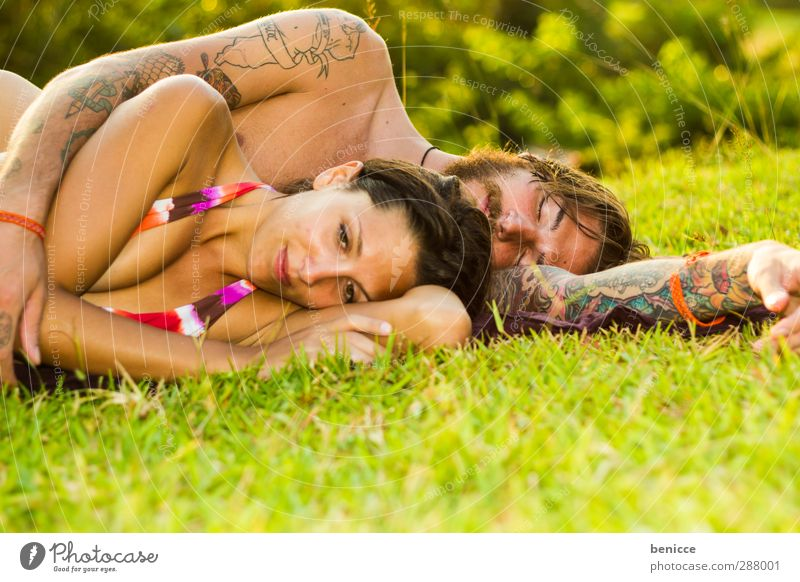 doubt Man Woman Couple Lovers Lie Meadow Fatigue Think Meditative Frustration Together Relationship Bikini Sadness Summer Grass Dream Doubt relationship crisis