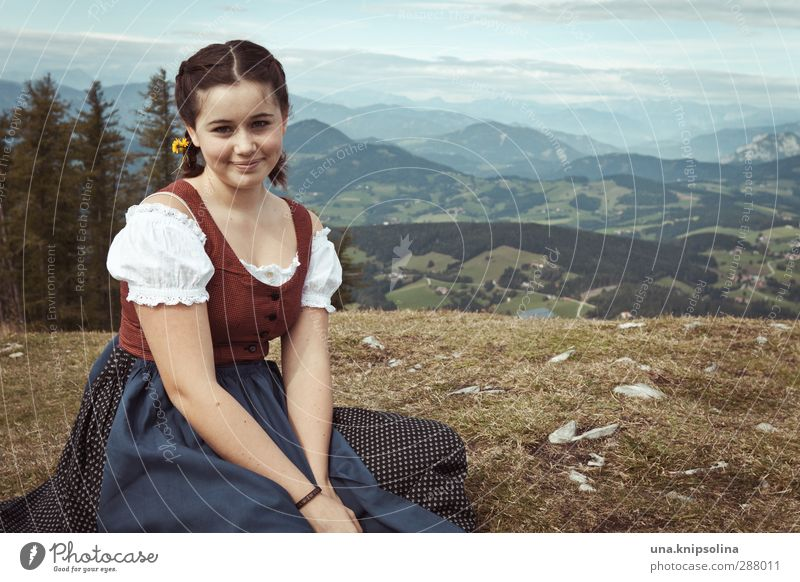 Heidi Vacation & Travel Tourism Mountain Hiking Girl Infancy 1 Human being Landscape Tree Meadow Alps Fashion Traditional costume Brunette Braids Sit Dream