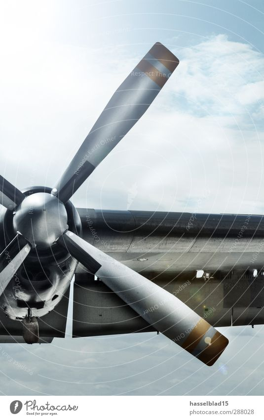 Tail Propeller Engines Technology Aviation Astronautics Transport Airplane Propeller aircraft Aircraft View from the airplane Metal Rotate Flying Threat Blue