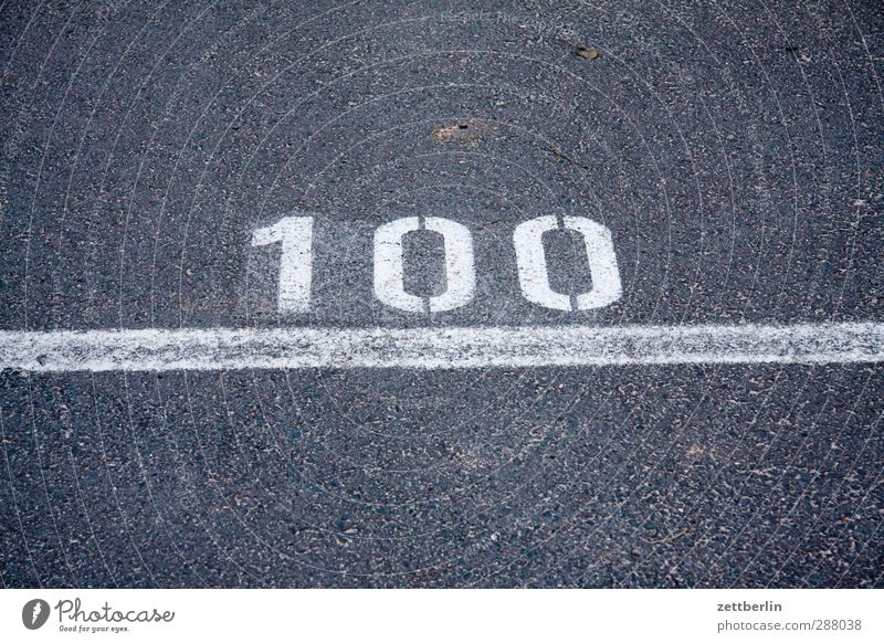 100 Deserted Traffic infrastructure Street Road sign Sign Characters Digits and numbers Signs and labeling Throw Target Line Typography Asphalt Finish line
