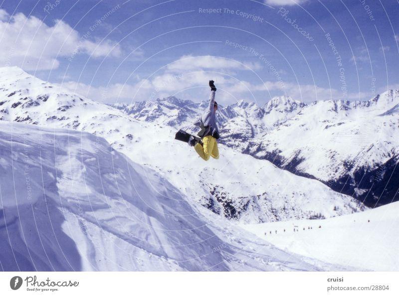 Winter Yellow Sports Flying Jump Crazy Tall Fantastic Posture Snowcapped peak Pants Ski resort Snowscape Snowboard Trick Freestyle