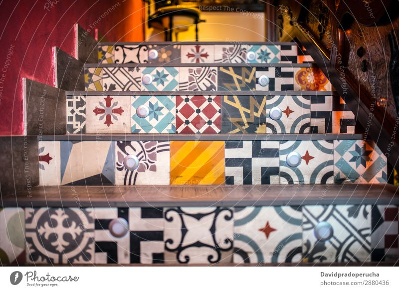 Mosaic ceramic tiled stairs Art Tradition decor Architecture Consistency Door Tile Steps Pattern Ornate Carving Decoration arabic geometric Stairs Floral