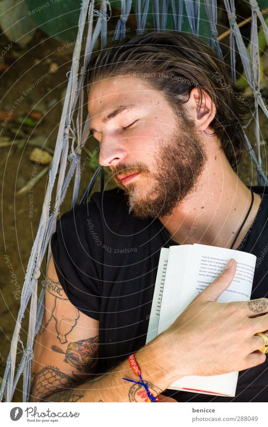 nodding books Man Human being Hammock Book Reading Vacation & Travel Youth (Young adults) Young man Novel Print media Relaxation Sleep Facial hair Beard