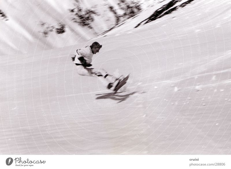Camber Part2 Deep snow Winter vacation Snowboard Saint Jakob Austria Sudden fall Sports Black & white photo Risk Dangerous 1 Backwards Adversity Hit Speed