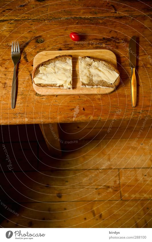 simple and tasty Tomato Bread Nutrition Breakfast Organic produce Brunch Sandwich Cutlery Knives Fork Table Dinner table Wooden floor Wooden table Old Authentic