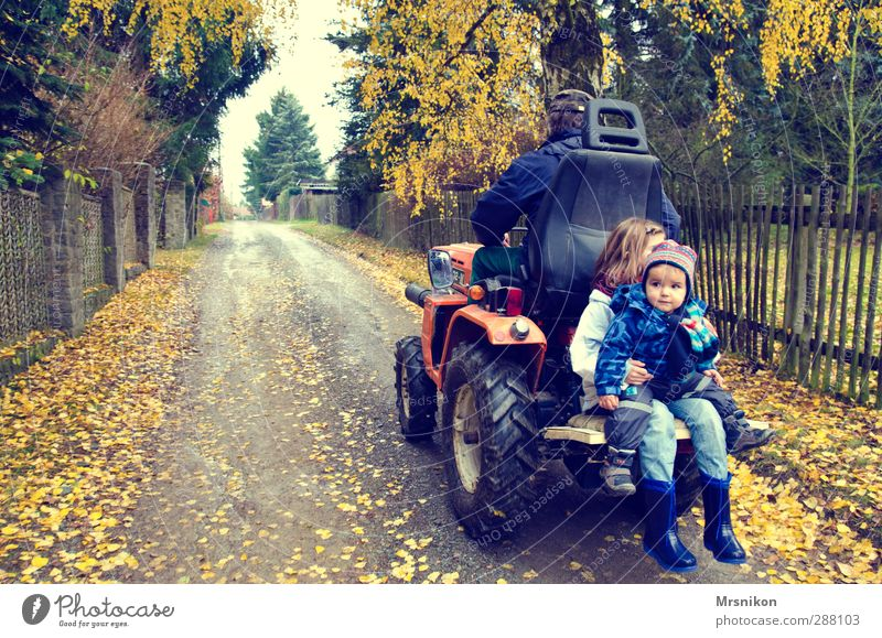 Driving a tractor is so nice Child Toddler Girl Boy (child) Male senior Man Grandfather Family & Relations Infancy Life 3 Human being 1 - 3 years 8 - 13 years