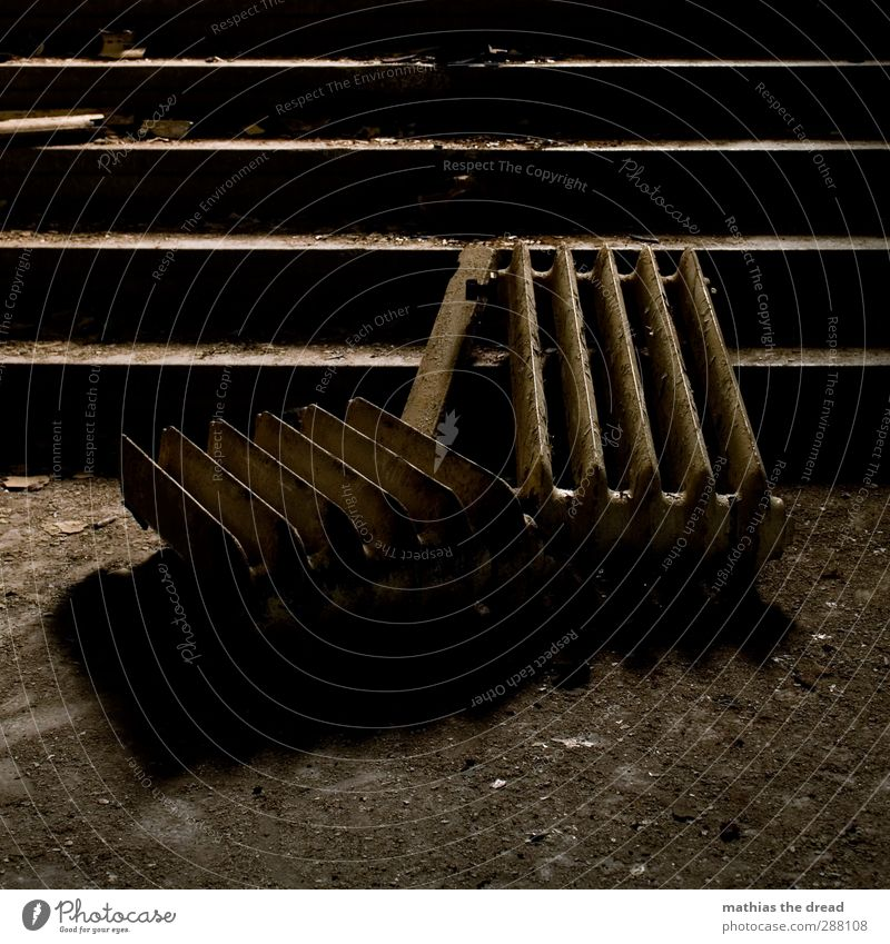 Old Dark Warmth Cold Architecture Building Stairs Dirty Manmade structures Still Life Broken Heater