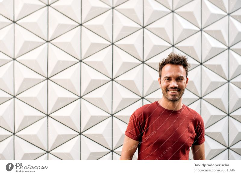 Happy handsome man looking at camera smiling Man Architecture Caucasian Youth (Young adults) Building Copy Space Exterior shot Boy (child) Adults Attractive