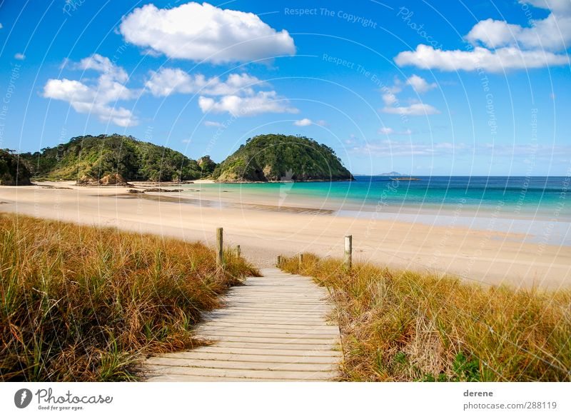 Sky Blue Vacation & Travel Water Summer Sun Ocean Beach Clouds Calm Relaxation Yellow Lanes & trails Freedom Brown Island