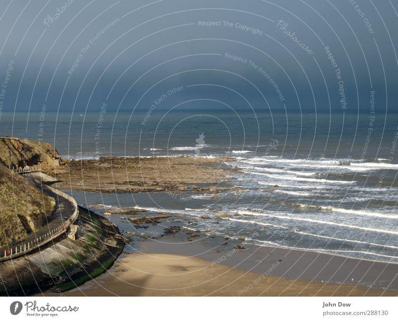 Sea air, Take a Deep Breath. 1 Human being Sky Horizon Hill Rock Coast Beach Bay Fresh Waves Ocean Footpath Lanes & trails To go for a walk Promenade Wind