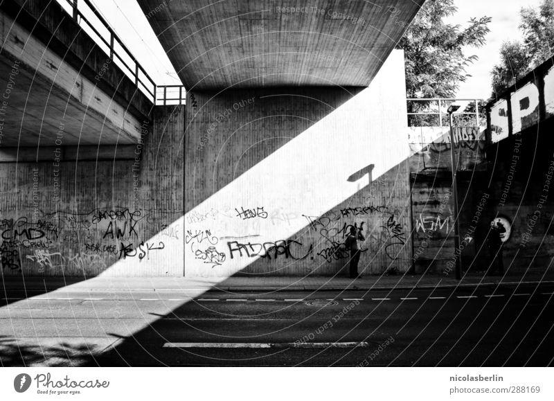 DIA. Town Bridge Wall (barrier) Wall (building) Facade Street Concrete Graffiti Esthetic Dark Black White Orderliness Mysterious Perspective Precision Diagonal