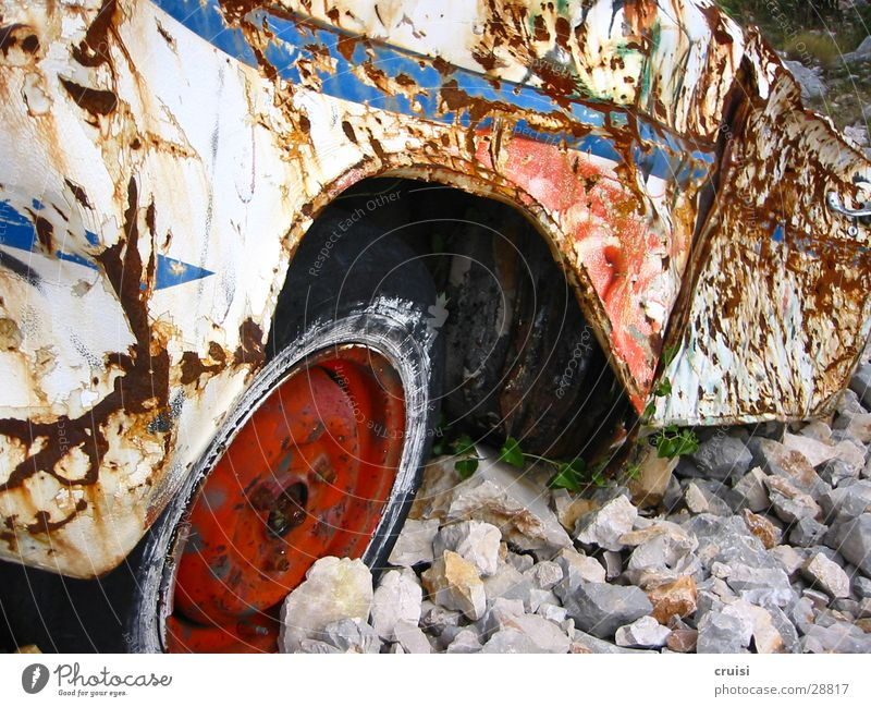 Rust in gravel Broken Scrap metal Tin Bulge Gravel Trash Obscure rust bucket Car Nature Old Technology