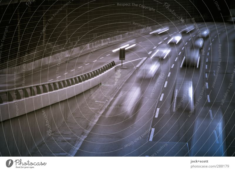 Rush Hour City Movement Lanes & trails Time Line Car Authentic Speed Concrete Future Stripe Driving Fear of the future Traffic infrastructure Stress Highway