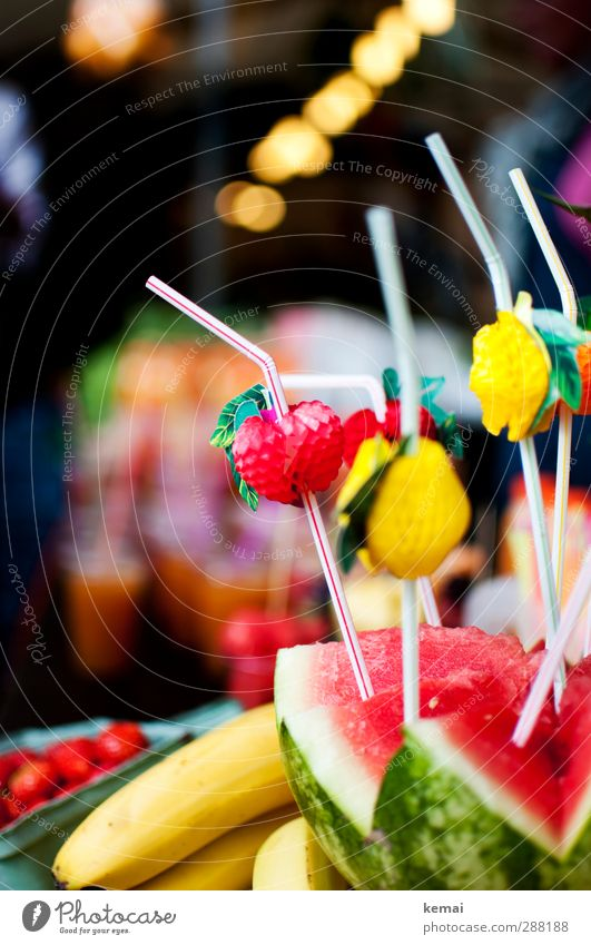 Pure fruit Food Fruit Water melon Banana Nutrition Straw Fresh Healthy Delicious Multicoloured Colour photo Exterior shot Deserted Day Contrast Blur